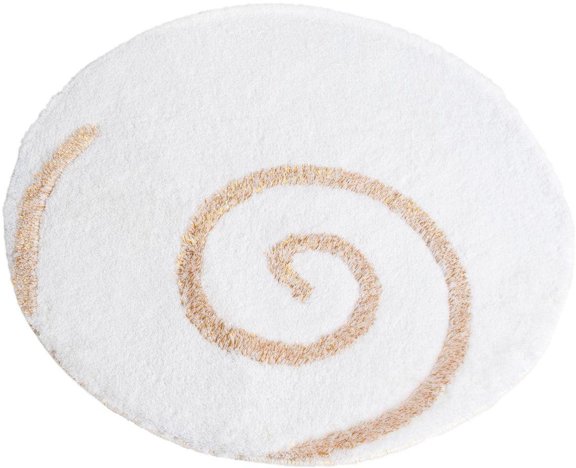 Коврик для ванной Wess Capriccio, цвет: белый, диаметр 80 смAK38-10Capriccio в переводе с итальянского — каприз. Дизайн коврика завоюет сердце самых взыскательных модников благодаря узору и оверлоку из золотистого люрекса, а также приятному белоснежному ворсу. Коврик для ванной комнаты имеет латексную основу, предотвращающую скольжение на кафеле. Хорошо впитывает влагу. Длина ворса 2,5 см. Диаметр 80 см. 100% акрил.