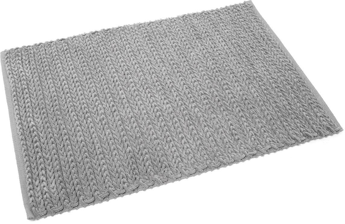 Коврик для ванной Wess Coleta, цвет: серый, 60 х 90 смC08-90Мягкий шенилловый коврик с плетением «Косичка» имеет латексное напыление, предотвращающее скольжение изделия и подходящее для системы теплых полов. Коврик приятен на ощупь, отлично впитывает влагу.