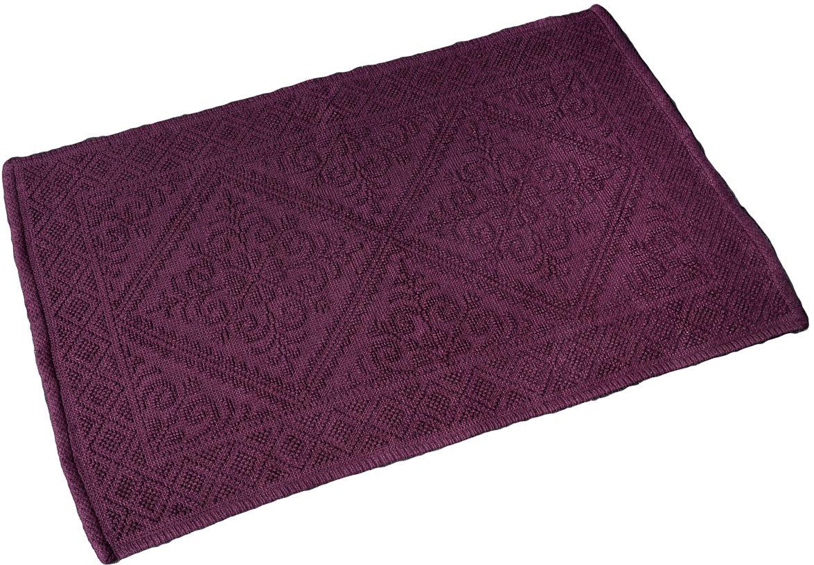 Коврик для ванной Wess Meknes, цвет: фиолетовый, 60 х 90 смC09-90Жаккардовый рисунок в восточном стиле придает коврику особый шарм. Латексное напыление предотвращает скольжение изделия на напольных покрытиях и допускает использование коврика в ванной комнате с системой теплого пола. Коврик приятен на ощупь, отлично впитывает влагу.