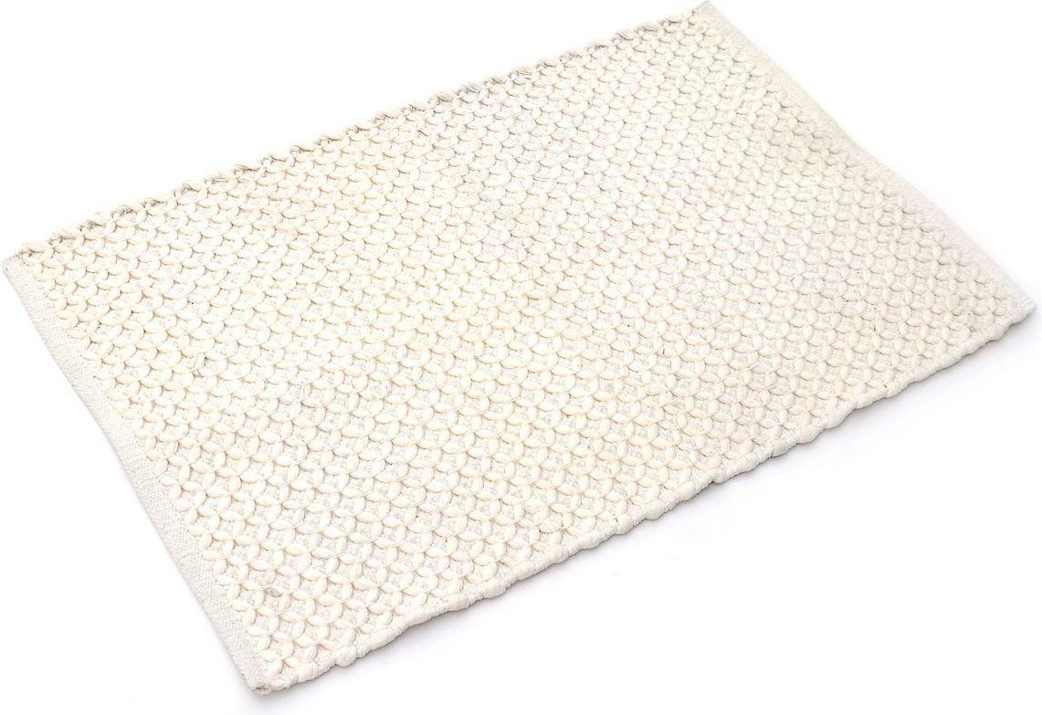 Коврик для ванной Wess Unbeaujour, цвет: бежевый, 60 х 90 смC18-10Изящный коврик для ванной комнаты с декоративным плетением выполнен в стиле прованс. Благодаря латексному напылению коврик не скользит на напольных покрытиях и защищает от падения.
