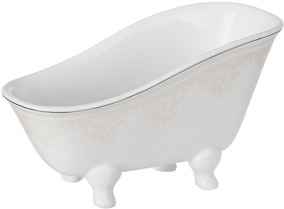 Подставка для мочалки Wess Elegance, цвет: белый. G75-40G75-40Эта ванночка для мочалки выполнена в классическом стиле. Утонченные, изящные формы в сочетании с нежными линиями деколя создают законченный образ ванной комнаты, привлекая своей изысканностью. Светлая цветовая гамма подчеркивает элегантность аксессуара.