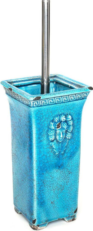 Ершик для туалета Wess Gorgelur, с подставкой, цвет: синий. G79-42G79-42Древнегреческие мотивы в декоре предмета добавят изысканность в классическую ванную комнату. Сложные цвета, кракелюр, элегантные формы делают аксессуар грациозным и неповторимым.
