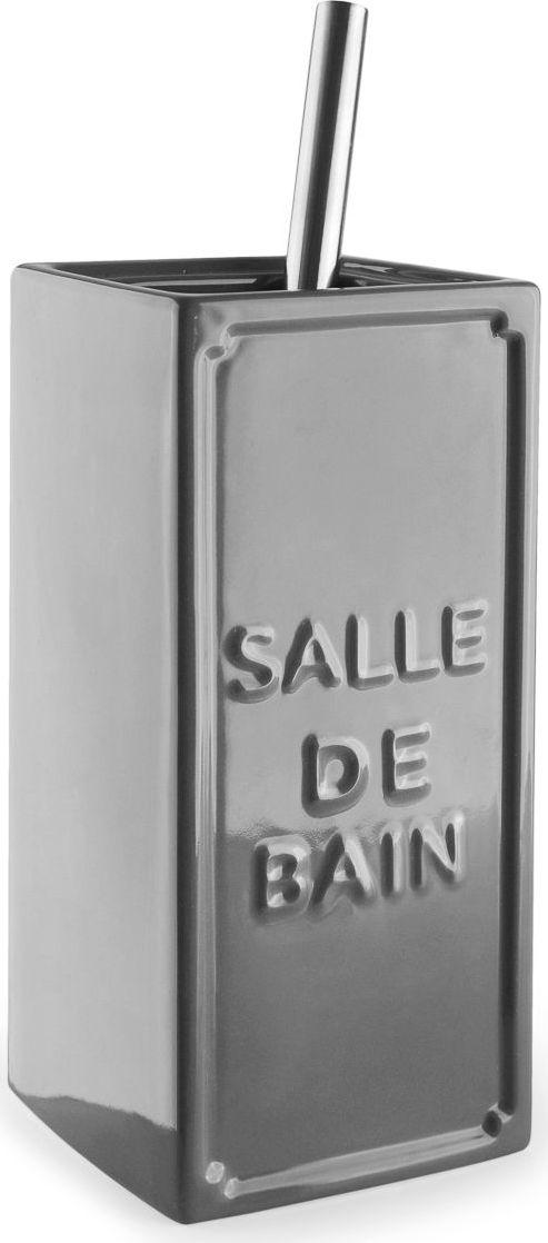 Ершик для туалета Wess Salle de bain, с подставкой, цвет: серый. G79-79G79-79Простые линии, универсальный серый цвет, объемная надпись, напоминающая парижские рекламные вывески начала XX века, позволяют ершику Salle de bain легко занять свое место как в классическом, так и современном интерьере.