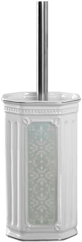 Ершик для туалета Wess Hermitage, с подставкой, цвет: белый. G79-84G79-84Классический стиль не терпит фальши и отступления от традиций. В роскошной коллекции Hermitage соблюдены эти правила. Изящество линий предмета соседствует с подлинной аристократической сдержанностью, а витиеватость узора с воздушностью керамики.