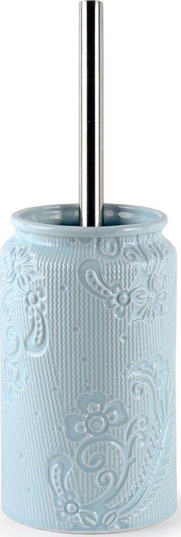 Ершик для туалета Wess Frio, с подставкой, цвет: синий. G79-85G79-85Ершик спокойного голубого цвета станет оригинальным дополнением интерьера. Под стать всей коллекции, ершик выполнен из керамики с изящным рельефным рисунком. Такой туалетный ершик не бросается в глаза, но вместе с другими аксессуарами он становится частью законченного дизайна ванной комнаты или туалета. Щетка ерша для унитаза обладает качественной щетиной черного цвета и металлической рукояткой оптимальной длинны.