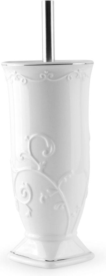 Ершик для туалета Wess Bohemia, с подставкой, цвет: белый. G79-86G79-86Напольный ершик белого цвета привнесет в интерьер элемент сдержанной роскоши. Такой аксессуар отлично впишется, если сочетать его с другими элементами интерьера, например, с предметами из этой же коллекции. Ершик для туалета выполнен из керамики с элегантным орнаментом и хромированной деколью. Щетина на щетке ерша отличается качеством и черным цветом, а металлическая рукоятка подобрана оптимальной длины.