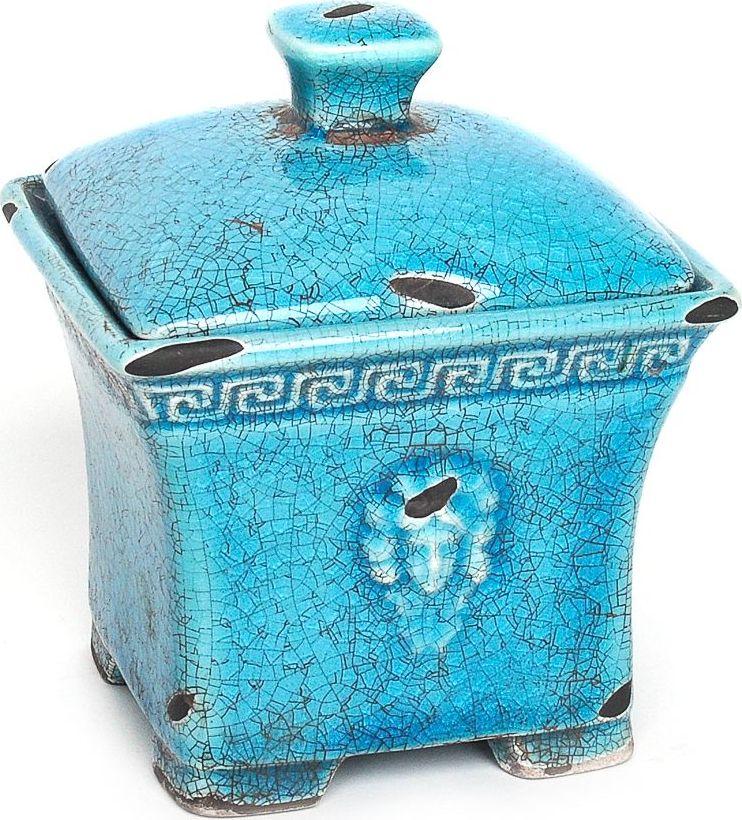 Шкатулка Wess Gorgelur, цвет: синий. G81-42G81-42Древнегреческие мотивы в декоре шкатулки добавят изысканность в классическую ванную комнату. Сложные цвета, кракелюр, элегантные формы делают аксессуар грациозным и неповторимым.