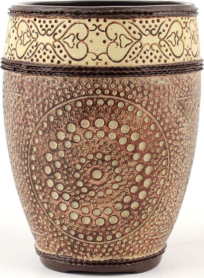 Стакан для зубных щеток Wess Zelidzh, цвет: коричневый. G85-77G85-77Изящный орнамент, напоминающий отделку дворцов в Марокко, гармоничное сочетание пастельных тонов делают стаканчик великолепным дополнением интерьеров в стиле ар-деко, восточном стиле или просто интерьера в светлых тонах.