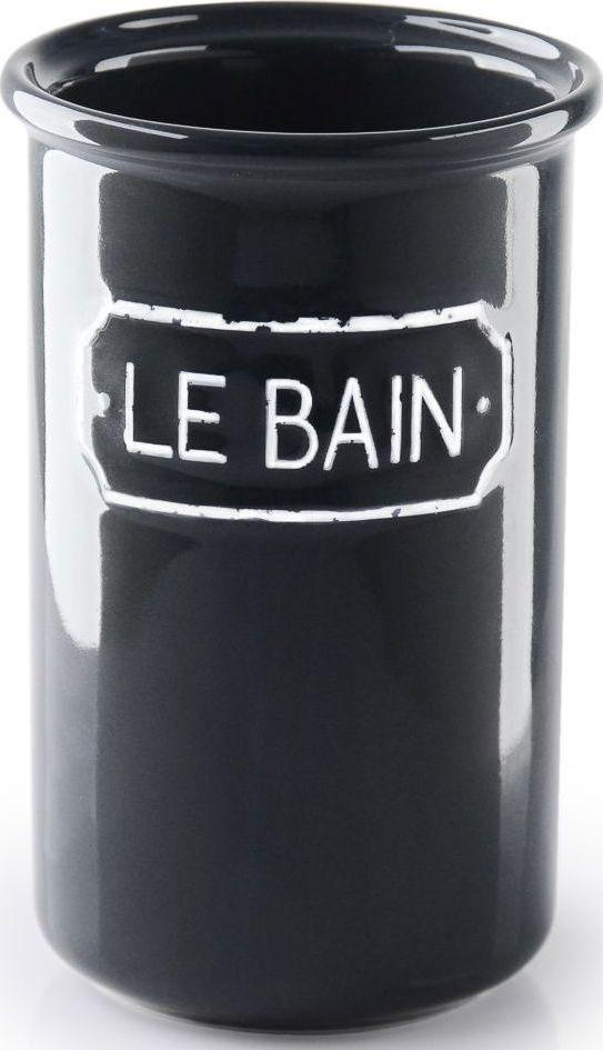 """Благодаря эффектному сочетанию утилитарной минималистичной формы, глазури графитового цвета и надписи в изящной рамке стакан для зубных щеток """"Le Bain"""" гармонично впишется как в современный, так и классический интерьер."""