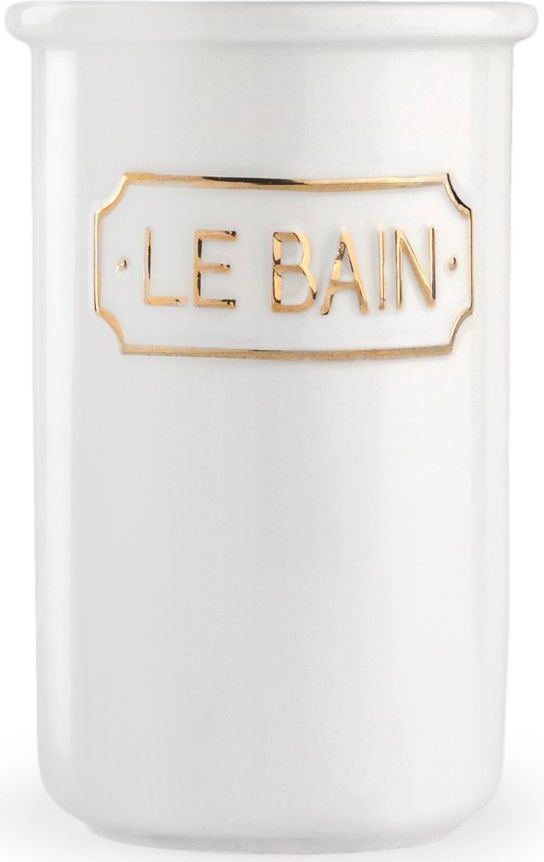 Стакан для зубных щеток Wess Le Bain blanc. G85-81G85-81Благодаря эффектному сочетанию утилитарной минималистичной формы, белоснежной глазури и надписи в изящной рамке стакан для зубных щеток Le Bain blanc гармонично впишется как в современный, так и классический интерьер.