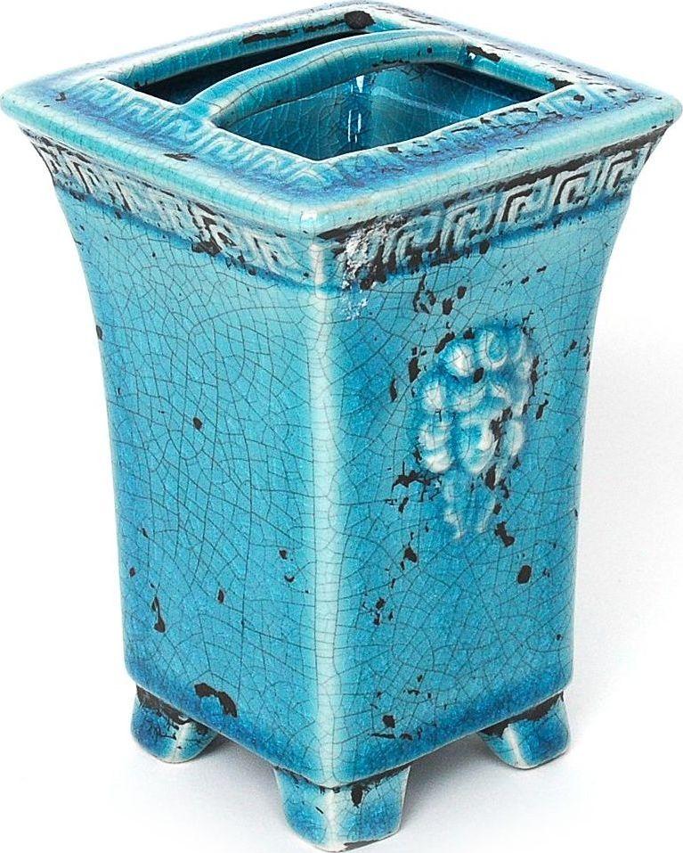 Стакан для зубных щеток Wess Gorgelur, с разделителем, цвет: синий. G86-42G86-42Древнегреческие мотивы в декоре стаканчика для зубных щеток добавят изысканность в классическую ванную комнату. Сложные цвета, кракелюр, элегантные формы делают аксессуар грациозным и неповторимым.