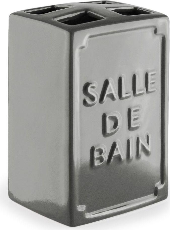 Стакан для зубных щеток Wess Salle de bain, с разделителем, цвет: серый. G86-79G86-79Простые линии, универсальный серый цвет, объемная надпись, напоминающая парижские рекламные вывески начала XX века, позволяют стакану для зубных щеток с разделителем Salle de bain легко занять свое место как в классическом, так и современном интерьере.