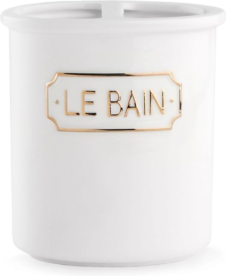 Стакан для зубных щеток Wess Le Bain blanc, с разделителем, цвет: белый. G86-81G86-81Благодаря эффектному сочетанию утилитарной минималистичной формы, белоснежной глазури и надписи в изящной рамке стакан для зубных щеток с разделителем Le Bain гармонично впишется как в современный, так и классический интерьер.