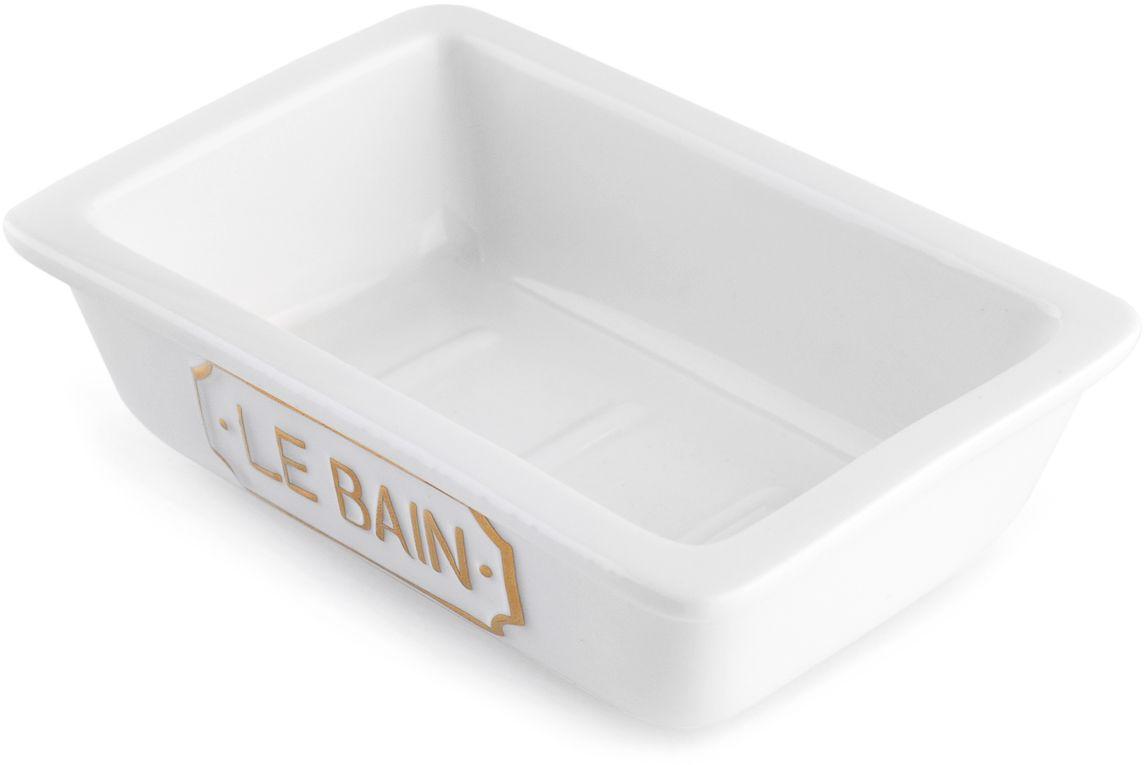 Мыльница Wess Le Bain blanc, цвет: белый. G88-81G88-81Благодаря эффектному сочетанию утилитарной минималистичной формы, белоснежной глазури и надписи в изящной рамке мыльница Le Bain blanc гармонично впишется как в современный, так и классический интерьер.
