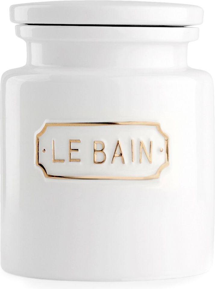 """Благодаря эффектному сочетанию утилитарной минималистичной формы, белоснежной глазури и надписи в изящной рамке баночка для соли """"Le Bain"""" гармонично впишется как в современный, так и классический интерьер."""