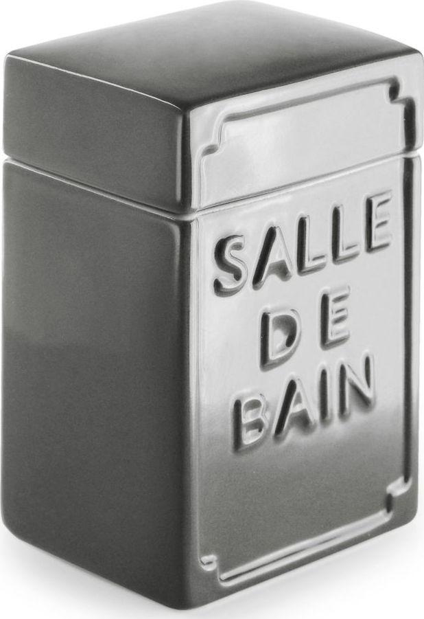 Контейнер для ватных дисков Wess Salle de bain. G95-79G95-79Простые линии, универсальный серый цвет, объемная надпись, напоминающая парижские рекламные вывески начала XX века, позволяют контейнеру для ватных дисков Salle de bain легко занять свое место как в классическом, так и современном интерьере.