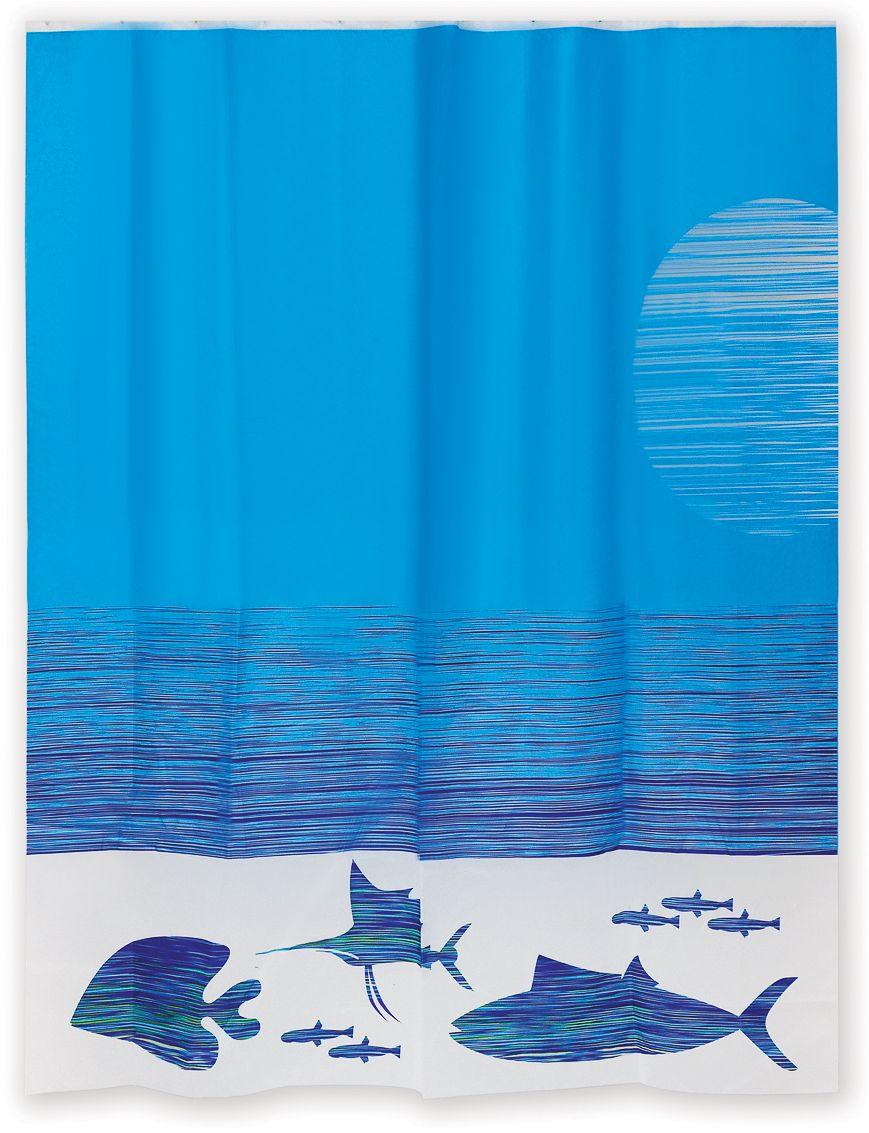 Яркий дизайн занавески позволит привнести в интерьер ванной комнаты атмосферу морских приключений. Толщина материала составляет 0,2 мм и исключает прилипание занавески к телу. Штора имеет 12 отверстий для колец. Кольца нужно приобретать дополнительно.