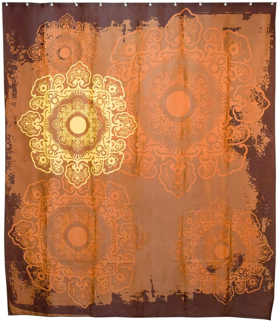 Штора для ванной Wess Meknes, цвет: коричневый, 180 х 200 см. T537-6T537-6Сложные витиеватые орнаменты, а также теплые оттенки занавески создадут в ванной комнате особенную атмосферу. Штора полностью обработана водоотталкивающим средством. Имеет 12 металлических люверсов. Кольца приобретаются отдельно.
