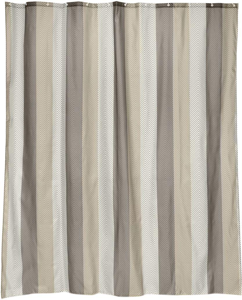 Штора для ванной Wess Linum, цвет: серый, коричневый, 180 х 200 см. T560-6T560-6Рисунок-елочка придает этой занавеске особую стать. Повышенная плотность материала и специальная пропитка обеспечивают водонепроницаемость шторы. Занавеска имеет 12 металлических люверсов цвета латуни. Кольца приобретаются отдельно.