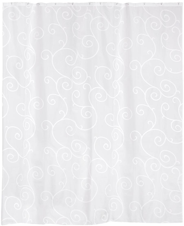 Штора для ванной Wess Silence, цвет: белый, 180 х 200 см. T583-1T583-1Вьющийся рисунок занавески подчеркнет нарядность интерьера ванной комнаты. Повышенная плотность материала и специальная пропитка обеспечивают водонепроницаемость шторы. Занавеска имеет 12 металлических люверсов. Кольца приобретаются отдельно.