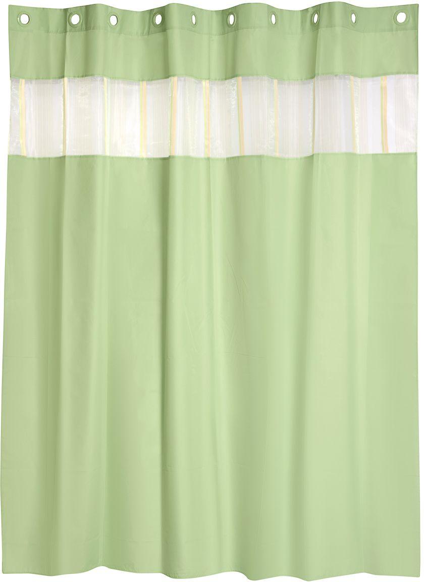 Штора для ванной Wess Salsa Green, цвет: зеленый, 200 х 200 см. T584-5T584-5Вставка из органзы позволяет сделать занавеску наряднее, а ванную комнату уютнее. Повышенная плотность материала и специальная пропитка обеспечивают водонепроницаемость шторы. Снабжена 10-ю пластиковыми люверсами с внутренним диаметром 37 мм, что позволяет закрепить занавеску непосредственно на карниз.