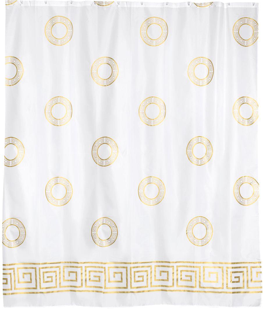 Штора для ванной Wess Classic, цвет: белый, золотой, 180 х 200 см. T591-0T591-0Дизайн занавески подчеркнет классический характер интерьера ванной комнаты. Повышенная плотность материала и специальная пропитка обеспечивают водонепроницаемость шторы. Занавеска имеет 12 металлических люверсов. Кольца приобретаются отдельно.