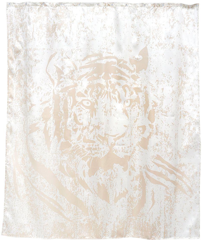 Силуэт тигра, выполненный в спокойных тонах, создает особую атмосферу в ванной комнате. Повышенная плотность материала и специальная пропитка обеспечивают водонепроницаемость шторы. Занавеска имеет 12 металлических люверсов. Кольца приобретаются отдельно.