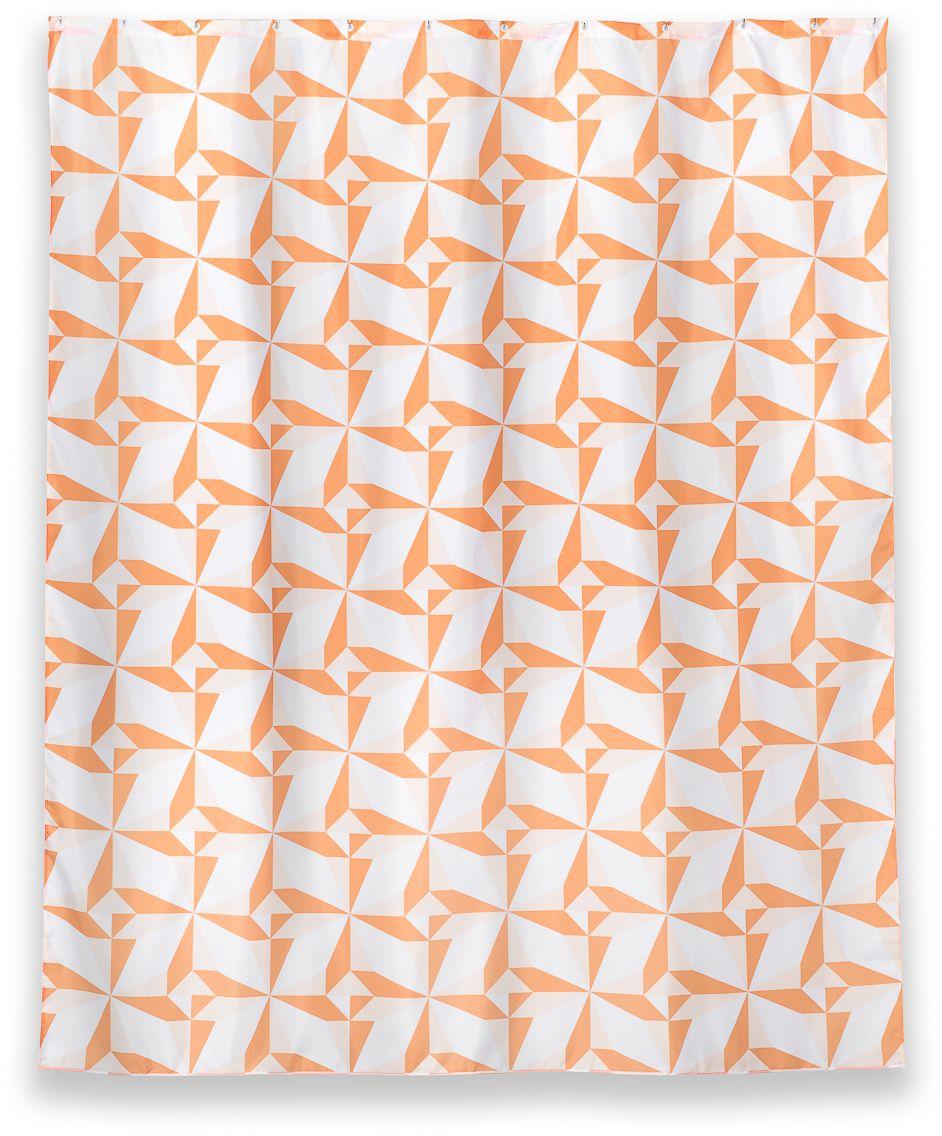 Штора для ванной Wess Triangulo, цвет: белый, оранжевый, 180 х 200 см. T625-4T625-4Яркий оранжевый принт занавески для ванной комнаты Triangulo добавит сочный акцент в любой современный интерьер ванной комнаты. Гибкий и легкий материал, из которого изготовлена штора, надолго сохраняет первоначальный внешний вид и форму. Занавеска имеет 12 отверстий для колец. Кольца приобретаются отдельно.
