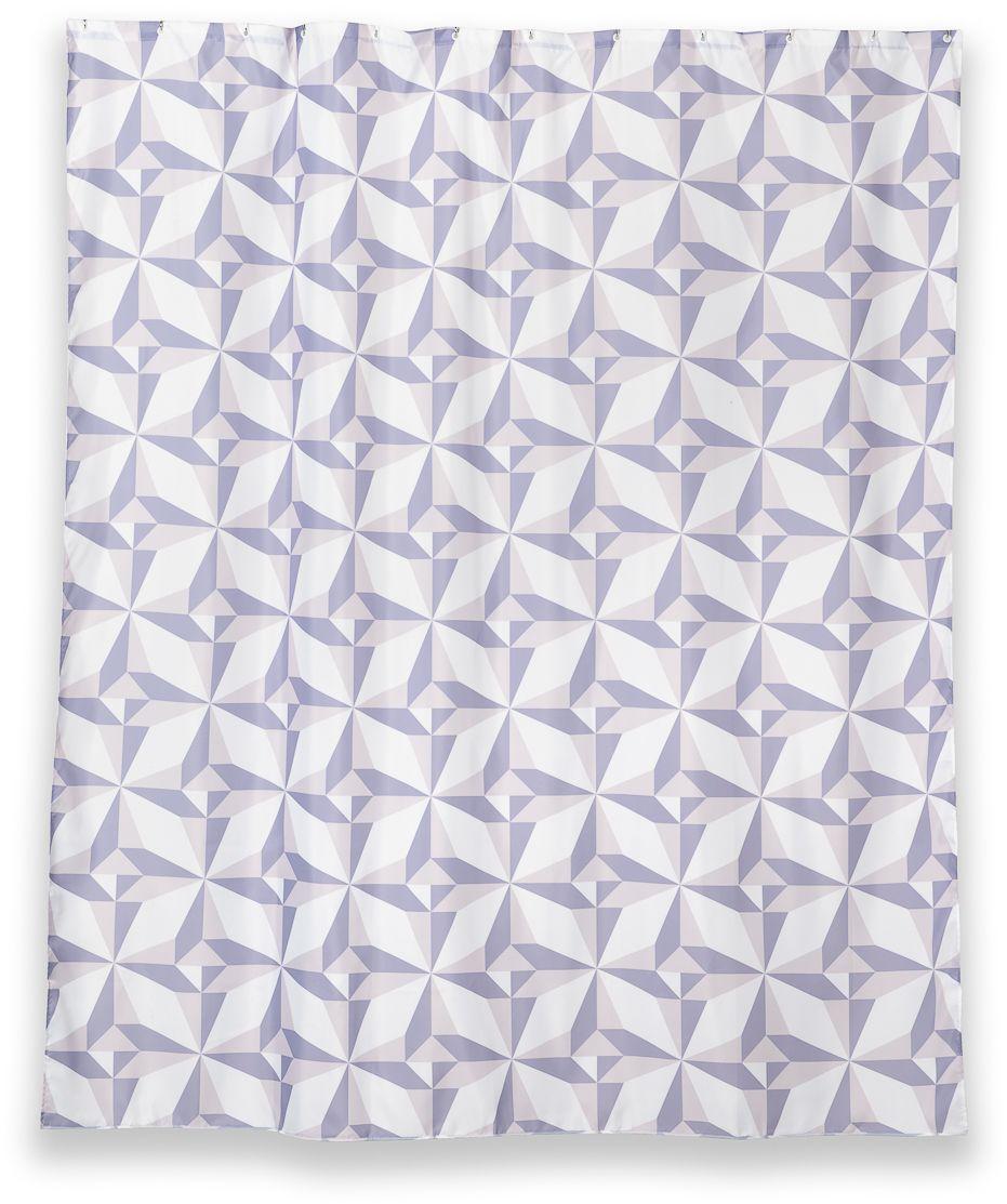 Штора для ванной Wess Triangulo, цвет: белый, фиолетовый, 180 х 200 см. T625-7T625-7Геометрический принт пастельных сиреневых тонов занавески для ванной комнаты Triangulo добавит гармонии в любой современный интерьер ванной комнаты. В нижний край занавески для ванной комнаты вшита специальная утяжеляющая полоска. Водоотталкивающая пропитка предотвращает намокание шторы. Занавеска имеет 12 отверстий для колец. Кольца приобретаются отдельно.