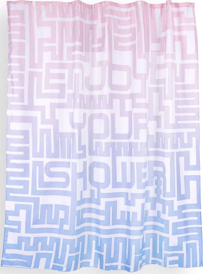 Штора для ванной Wess Enjoy, цвет: белый, розовый, голубой, 180 х 200 см. T629-8T629-8Ультрасовременная и нестандартная занавеска с цветовым градиентом и минималистичным принтом позволит оформить ванную комнату ярко и необычно. Занавеска изготовлена из 100% полиэстера и полностью обработана водоотталкивающим средством. Имеет 12 металлических люверсов белого цвета. Кольца приобретаются отдельно.