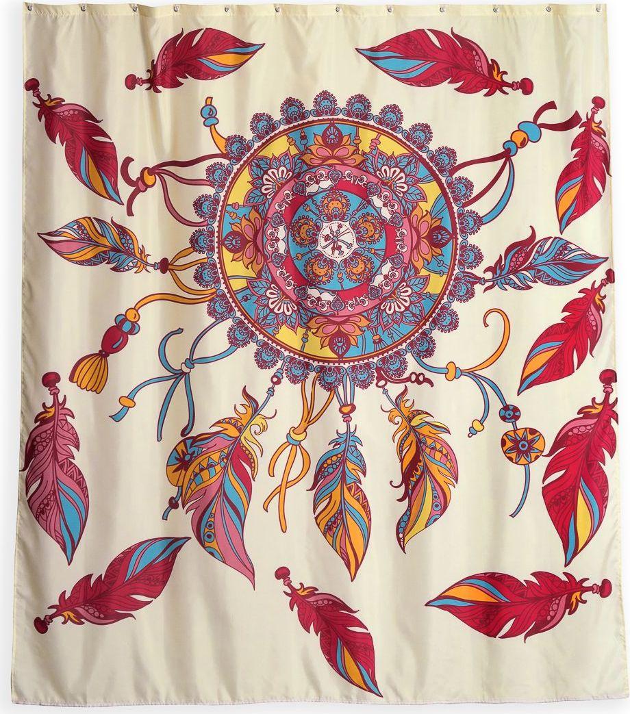 Штора для ванной Wess Dreamcatcher, цвет: бежевый, мультицвет, 180 х 200 см. T638-4 dreamcatcher