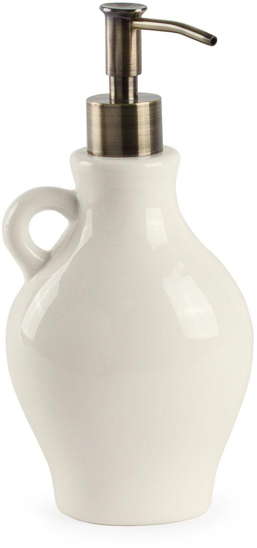 Дозатор для жидкого мыла Moroshka Naturel beige. xx004-34xx004-34Фигурный дозатор из керамики с декоративной ручкой. Металлический носик с антикоррозийным покрытием цвета латунь. Цвет самого изделия – молочно-белый – отлично смотрится на керамике, приумножая теплоту и мягкость этого материала.
