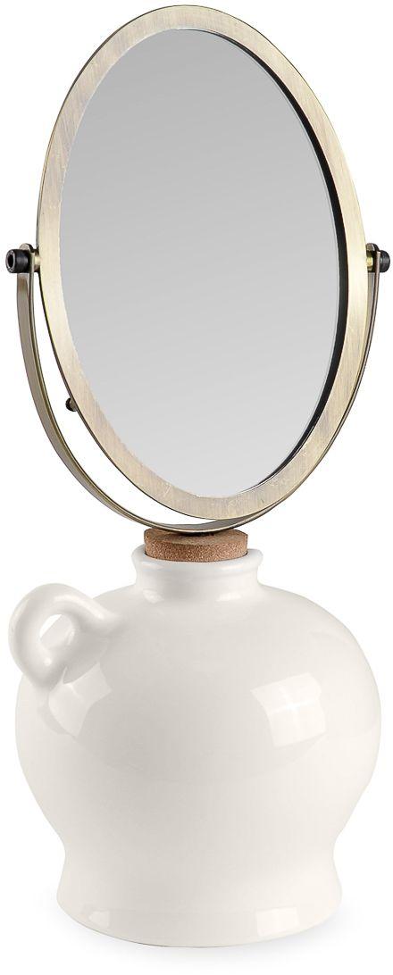 Зеркало косметическое Moroshka Naturel, 15,5 х 13 х 39 смxx004-46Косметическое одностороннее зеркало с декоративной подставкой в форме глиняного сосуда. Подставка и зеркало соединяются между собой затычкой из натуральной пробки. Части также можно разъединить и использовать зеркало отдельно от подставки. Отражение без увеличения.
