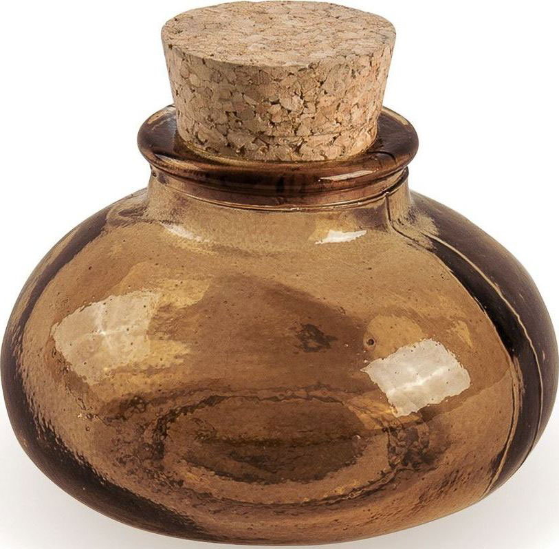 Флакон декоративный Moroshka Naturel, круглый, цвет: коричневый, 7,8 х 6,3 х 7,8 смxx004-94Круглый флакон для хранения жидких или сыпучих веществ. Мягкая крышка из пробки герметично закрывается и легко открывается. Все стеклянные изделия Naturel изготовлены из вторичного сырья, что оправдывает название коллекции не только в дизайне.