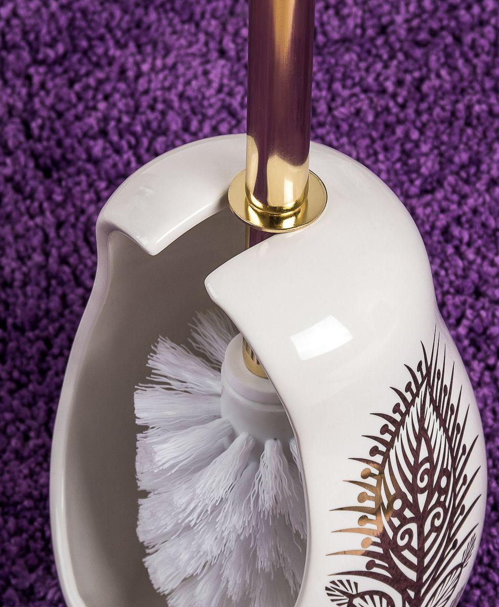 Ершик открытого типа с подвесной системой для щетки. Материал щетки - нейлон, материал ручки - металл с покрытием золотого цвета. Рисунок нанесен золотой краской с зеркальным эффектом.