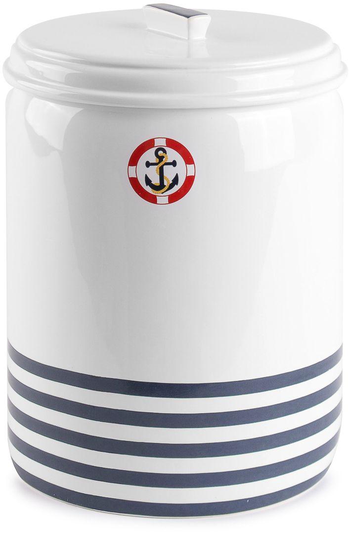 Ведро для мусора Moroshka Maritime, цвет: белый, синий, 2,8 лxx006-01Ведро для мусора с крышкой Moroshka Maritime выполнено из керамики. Классическая расцветка морского стиля и фирменный логотип с якорем пронизывают всю коллекцию Maritime.