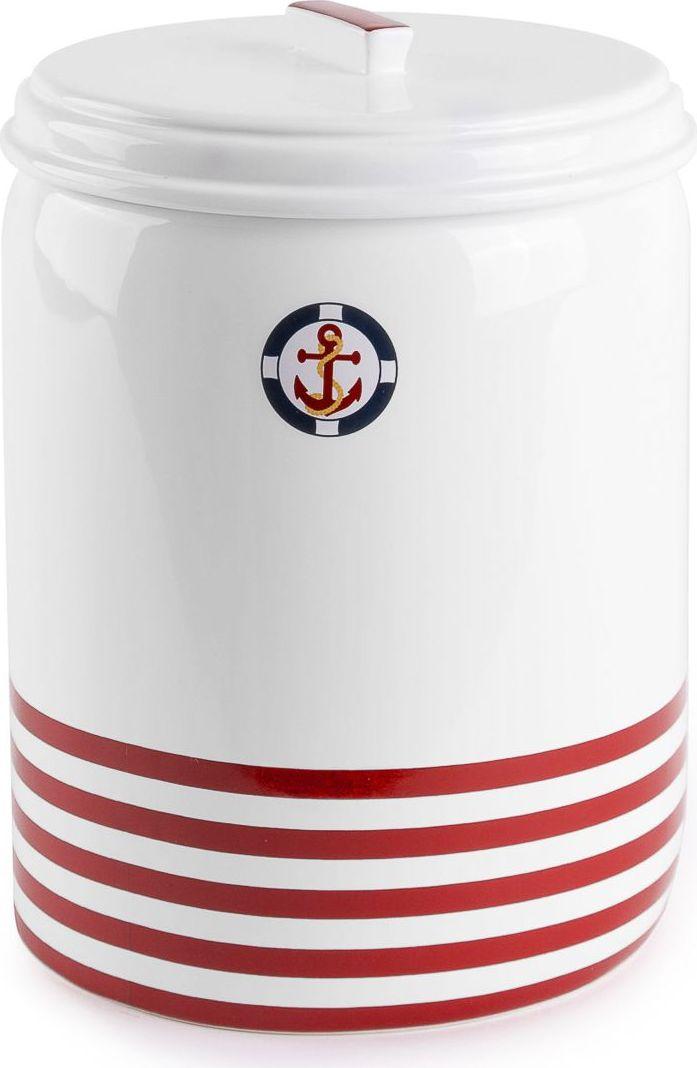 Ведро для мусора Moroshka Maritime, цвет: белый, красный, 2,8 л ведро эмалированное кмк с крышкой с поддоном 10 л