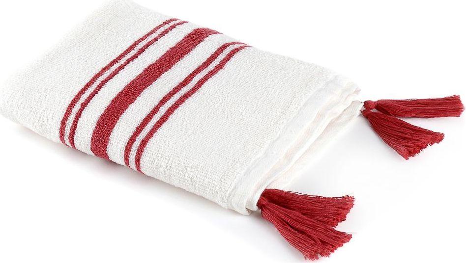 Полотенце Moroshka Maritime, цвет: белый, красный, 50 х 70 см. xx006-57xx006-57Махровое полотенце среднего размера. Изготовлено из 100 % хлопка высокого качества. На концах полотенца декоративные кисточки. Все края полотенца прошиты, что позволит надолго сохранить качественный вид и форму. Имеет оптимальную плотность плетения для впитывания воды (500 г/м.кв.). Фирменная петелька на полотенце для удобства размещения полотенца на крючке. Можно стирать вручную или в стиральной машине при температуре до 40°С. Рекомендуется стирать с вещами, схожими по цвету.