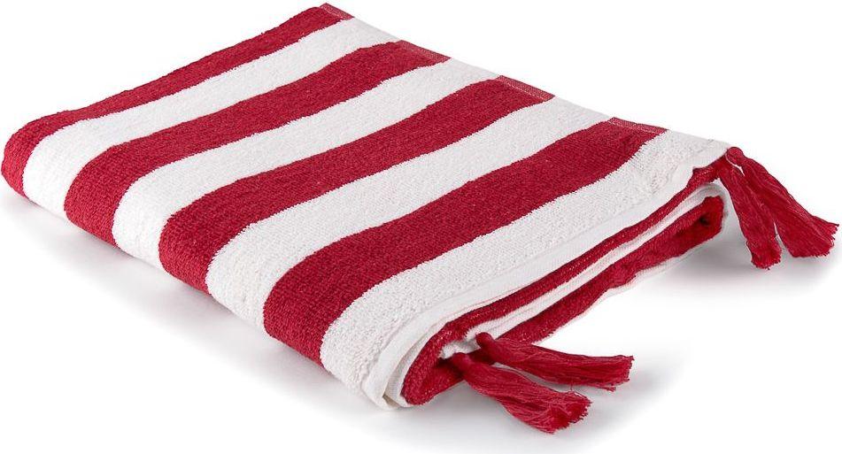 Полотенце Moroshka Maritime, цвет: белый, красный, 70 х 140 см. xx006-58xx006-58Полосатое полотенце для тела. Изготовлено из 100 % хлопка высокого качества. На концах полотенца декоративные кисточки. Все края полотенца прошиты, что позволит надолго сохранить качественный вид и форму. Имеет оптимальную плотность плетения для впитывания воды (500 г/м.кв.). Фирменная петелька на полотенце для удобства размещения полотенца на крючке. Можно стирать вручную или в стиральной машине при температуре до 40°С. Рекомендуется стирать с вещами, схожими по цвету.