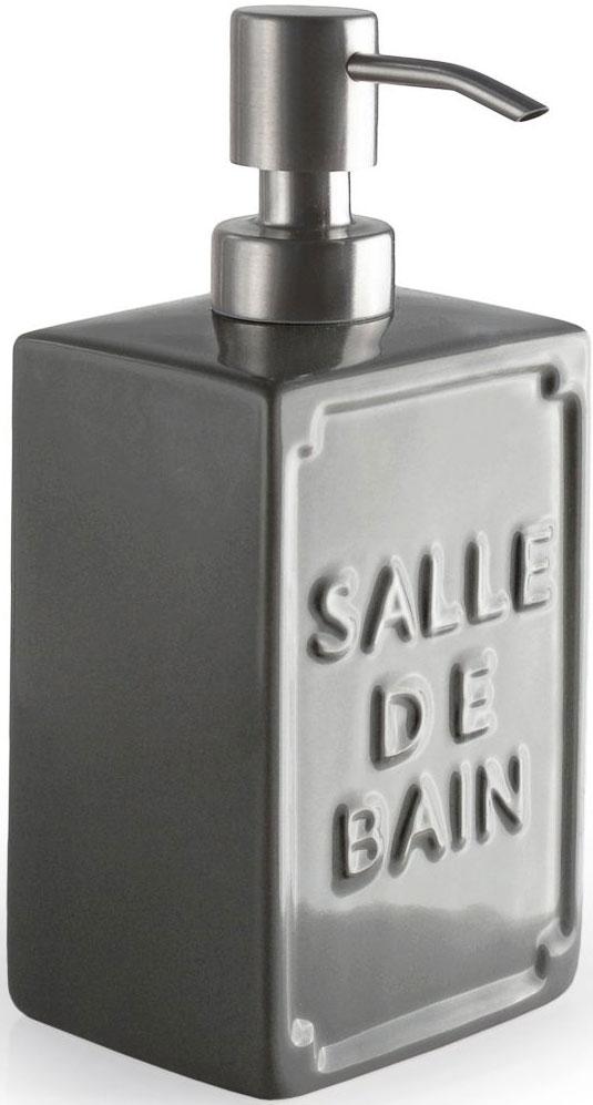 Дозатор для жидкого мыла Wess Salle de bain. G87-79G87-79Простые линии, универсальный серый цвет, объемная надпись, напоминающая парижские рекламные вывески начала XX века, позволяют дозатору для жидкого мыла Salle de bain легко занять свое место как в классическом, так и современном интерьере.