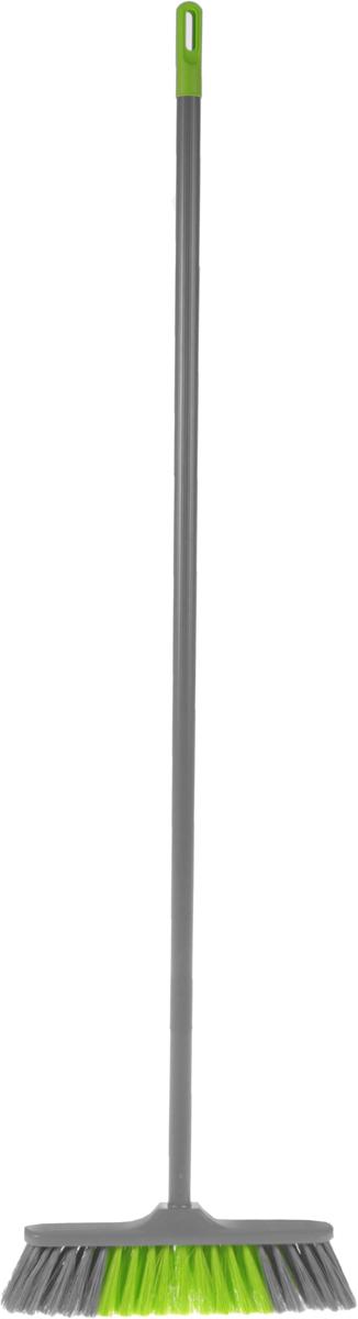 Щетка для пола York Фронтьера, мягкая, с рукояткой, цвет: серый, салатовый, длина 105 см5102_ серый, салатовыйЩетка-насадка для пола York Фронтьера изготовлена из пластика и полиэтилентерефталат (ПЭТ) и предназначена для уборки сухого мусора. Изделие оснащено универсальной резьбой, которая подходит ко всем видам ручек. Упругий и длинный ворс позволит собрать мусор из самых труднодоступных мест. Черенок оснащен петлей, которая позволит повесить его на крючок. Длина щетки без учета волокон: 28 см.Длина ворса: 7 см.Длина рукоятки: 105 см.