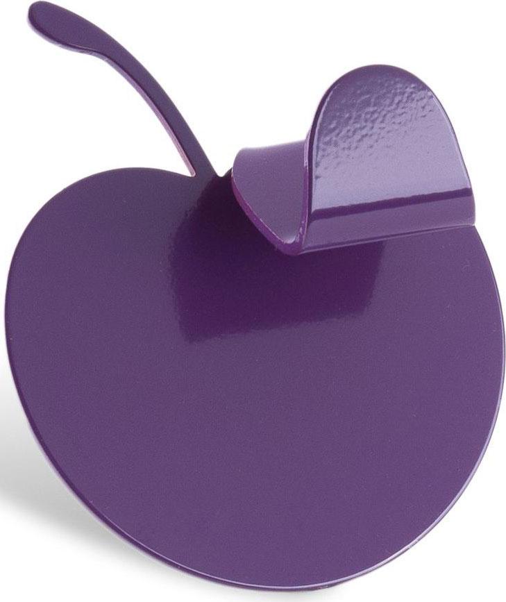 """Одинарный крючок Moroshka """"Fairytale"""" выполнен из литого куска металла в форме яблока. Покрыт краской фиолетового цвета. Крепится на ровную поверхность при помощи стикера на обратной стороне изделия. Использовать стикер можно только 1 раз. Максимальная нагрузка: 5 кг."""