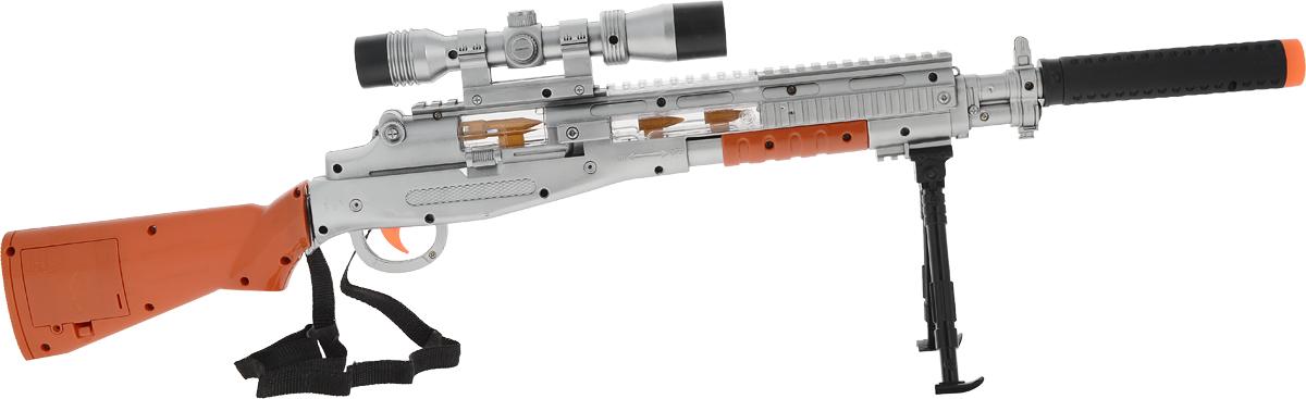ABtoys Снайперская винтовка с прицелом и подставкой abtoys abtoys лук игрушка с прицелом с 3 мя мягкими снарядами