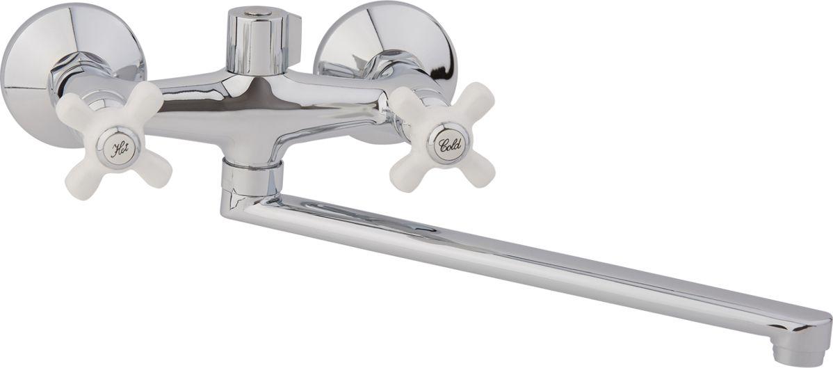 """Смеситель для ванны Arco """"А2505"""" с L-образным изливом и крестовыми маховиками,  предназначен для подачи и смешения холодной и горячей воды. Выполнен смеситель из  цинкового сплава (в составе 95% цинка). Рабочее давление: до 3 Bar.  Максимальное проверочное давление: до 4,5 Bar (не более 15 мин). Рабочая температура: до +75°С.  Рабочая среда: вода.  В комплект входит:  - шланг для душа длина 145 см.  - однорежимная душевая лейка.  - кронштейн на стену для душевой лейки."""