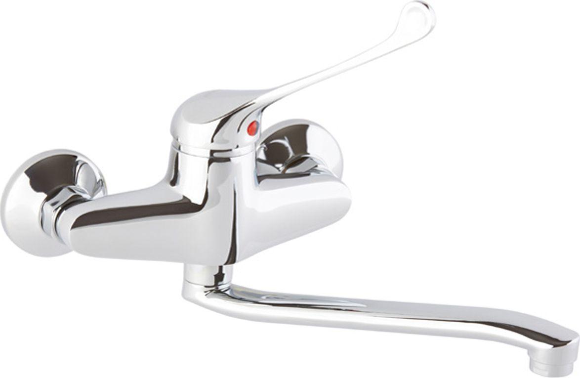 Настенный одноручковый смеситель для кухни ОПТИМА предназначен для подачи и смешения холодной и горячей воды. Выполнен из латуни с хромированным покрытием. Снабжен поворотным изливом, хирургической рукояткой и встроенным аэратором, который разбавляет поток воды воздухом и делает струю мягче. Смеситель легко монтируется, быстро подключается к водопроводным сетям благодаря подводке, входящей в комплект. Регулировка температуры осуществляется поворотом рукоятки влево-вправо.  Картридж: 40.  Длина подводки: 40 см.  Рабочее давление: до 6 Bar. Максимальное кратковременное давление: до 9 Bar. Рабочая температура: до +90°С. Рабочая среда: вода.