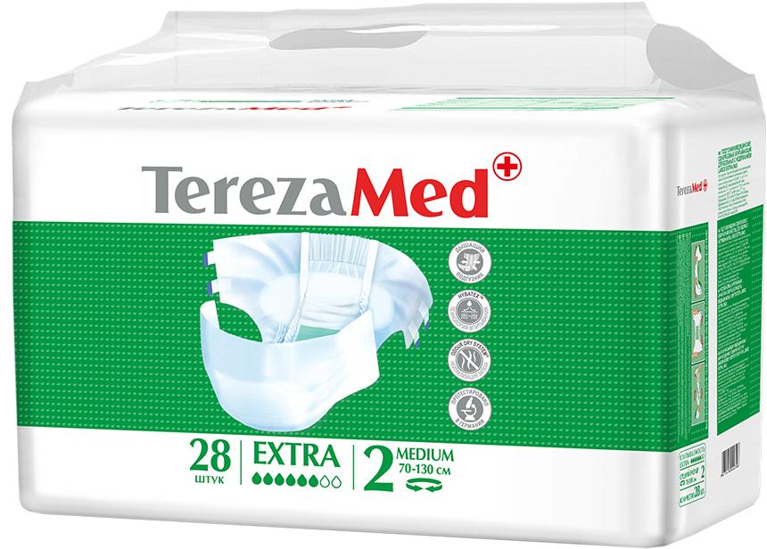 TerezaMed Подгузники для взрослых Extra Medium №2 28 шт18609Подгузники TerezaMed Extra Medium (дневные) предназначены для больных недержанием средней тяжести. Подгузник выполнен из мягкого дышащего материала, который пропускает пары влаги, а боковые ушки полностью пропускают воздух. Это позволяет коже пациента под подгузником дышать, а так же снижает риск появления опрелостей. Ядро подгузника состоит из натурального материала - целлюлозы, в которую добавлен суперабсорбент, впитывающий жидкость в больших количествах и обладающий свойством подавлять развитие неприятного запаха. Зеленый распределительный слой эффективно впитывает жидкость и распределяет ее внутри подгузника, тем самым снижая риск появления протечек. Крепление подгузника обеспечивается надежными липучками типа замочек, что позволяет многократно их приклеивать и отклеивать. Боковые бортики вокруг ног сделаны из гидрофобного материала и надежно запирают жидкость внутри. Специальные запатентованные технологии Soft Core, Hybatex и Odour dry system позволяют обеспечивать высокую степень впитываемости и поглощения запаха. Подгузники протестированы в Германии. Размер талии пациента: средний, 70-110см. Впитываемость: 2300 мл ±5%.