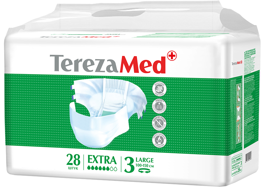 TerezaMed Подгузники для взрослых Extra Large №3 28 шт18610Подгузники TerezaMed Extra Large (дневные) предназначены для больных недержанием средней тяжести. Подгузник выполнен из мягкого дышащего материала, который пропускает пары влаги, а боковые ушки полностью пропускают воздух. Это позволяет коже пациента под подгузником дышать, а так же снижает риск появления опрелостей. Ядро подгузника состоит из натурального материала - целлюлозы, в которую добавлен суперабсорбент, впитывающий жидкость в больших количествах и обладающий свойством подавлять развитие неприятного запаха. Зеленый распределительный слой эффективно впитывает жидкость и распределяет ее внутри подгузника, тем самым снижая риск появления протечек. Крепление подгузника обеспечивается надежными липучками типа замочек, что позволяет многократно их приклеивать и отклеивать. Боковые бортики вокруг ног сделаны из гидрофобного материала и надежно запирают жидкость внутри. Специальные запатентованные технологии Soft Core, Hybatex и Odour dry system позволяют обеспечивать высокую степень впитываемости и поглощения запаха. Подгузники протестированы в Германии. Размер талии пациента: большой, 100-150см. Впитываемость: 2400 мл ±5%