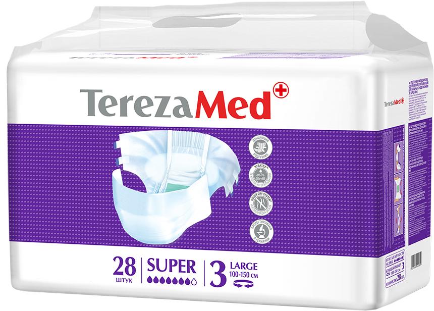 TerezaMed Подгузники для взрослых Super Large №3 28 шт18612Подгузники TerezaMed Super Medium (ночные) предназначены для больных недержанием средней тяжести. Подгузник выполнен из мягкого дышащего материала, который пропускает пары влаги, а боковые ушки полностью пропускают воздух. Это позволяет коже пациента под подгузником дышать, а так же снижает риск появления опрелостей. Ядро подгузника состоит из натурального материала - целлюлозы, в которую добавлен суперабсорбент, впитывающий жидкость в больших количествах и обладающий свойством подавлять развитие неприятного запаха. Зеленый распределительный слой эффективно впитывает жидкость и распределяет ее внутри подгузника, тем самым снижая риск появления протечек. Крепление подгузника обеспечивается надежными липучками типа замочек, что позволяет многократно их приклеивать и отклеивать. Боковые бортики вокруг ног сделаны из гидрофобного материала и надежно запирают жидкость внутри. Специальные запатентованные технологии Soft Core, Hybatex и Odour dry system позволяют обеспечивать высокую степень впитываемости и поглощения запаха. Подгузники протестированы в Германии. Размер талии пациента: большой, 100-150см. Впитываемость: 2900 мл ±5%