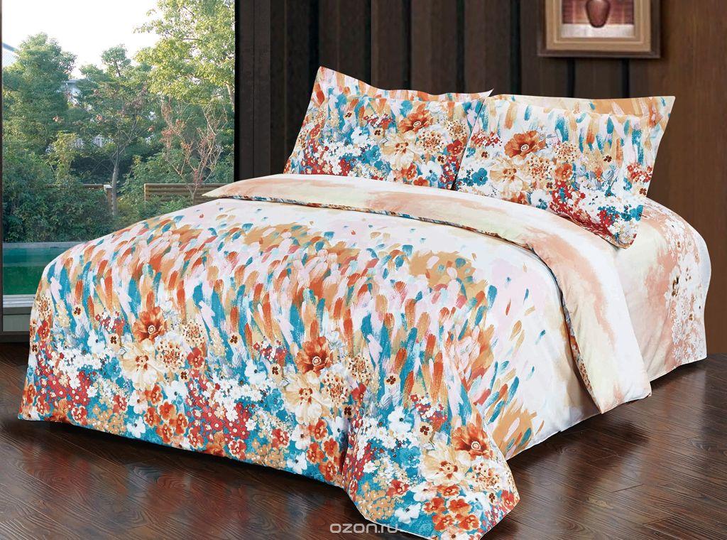 Комплект белья SL, 2-спальный, наволочки 50х70, цвет: синий, белый, бронза. 1034810348Комплект постельного белья SL состоит из пододеяльника, простыни и 2 наволочек. Он украшен машинной вышивкой высшего качества. Нитки не станут выбиваться, нанесенный на нити стойкими красителями цвет не выцветет и не полиняет.В сатине высокой плотности нити очень сильно скручены, поэтому ткань гладкая и немного блестит. Краска на сатине держится очень хорошо, новое белье не полиняет и со временем не станет выцветать. Комплект из плотного сатина прослужит дольше любого другого хлопкового белья. Благодаря диагональному пересечению нитей, он почти не мнется, но по гладкости и мягкости уступает атласным тканям.