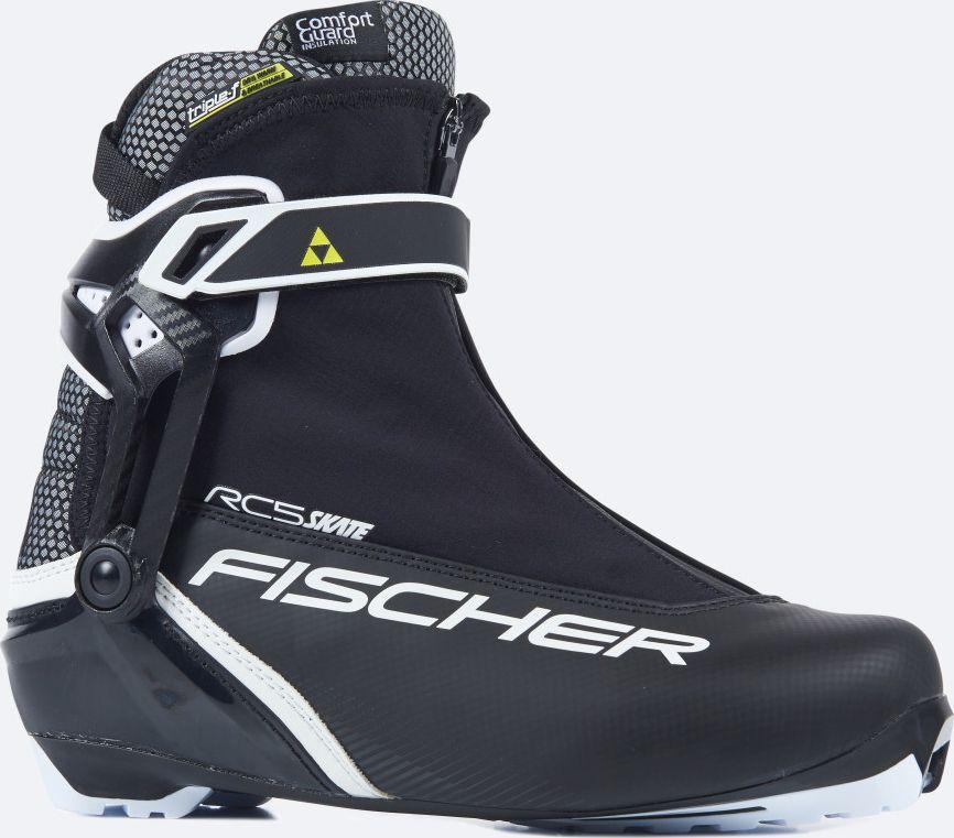 Ботинки лыжные мужские Fischer RC5 Skate, цвет: черный. S15417. Размер 43S15417Лыжные ботинки Fischer RC5 Skate - спортивная модель для амбициозных любителей. Новая гоночная подошва, облегченная конструкция и пластиковая манжета для лучшей поддержки голеностопа. Ботинки легко надеть благодаря широкому раскрытию. Дышащая мембрана Triple-F создает максимальный комфорт.Hinged Polymer Cuff.Эргономичная манжета обеспечивает боковую поддержку и дает свободу движений вперед и назад. Равномерное распределение давления благодаря манжете из материала EVA.Fischer Speed Lock.Система быстрой застежки для профессиональной экипировки. Надежное держание и простота использования.Thermo Fit.Термоформируемый материал внутреннего ботинка обладает прекрасными изоляционными свойствами и легко адаптируется по ноге.Easy Entry Loops.Широкое раскрытие ботинка и практичная петля на пятке облегчают надевание/снимание ботинок.Velcro Strap.Застежка на липучке, для быстрого регулирования и застегивания/расстегивания.Lace Cover.Дополнительная защита шнуровки, предотвращает проникновение влаги и холода.Comfort Guard.Очень легкий, водоотталкивающий изоляционный материал. Дополнительно защищает от холода мысок и переднюю часть стопы.